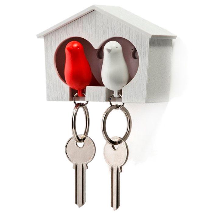 Настенная ключница с двумя брелоками Qualy Duo Sparrow Qualy белая с красным