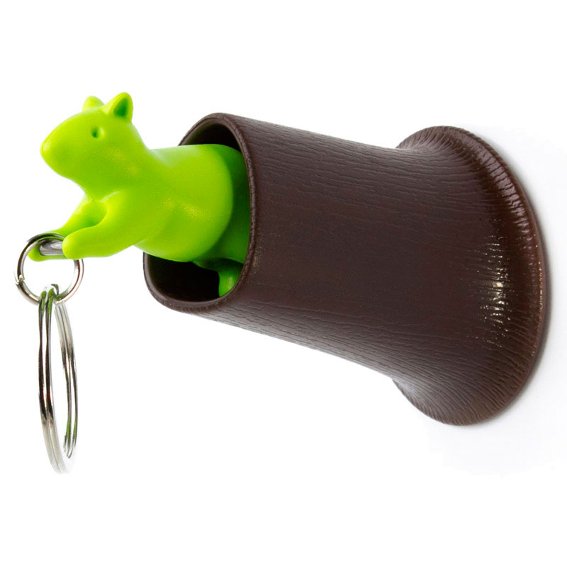 Ключница настенная с брелоком Qualy Squirrel коричневая с зеленым
