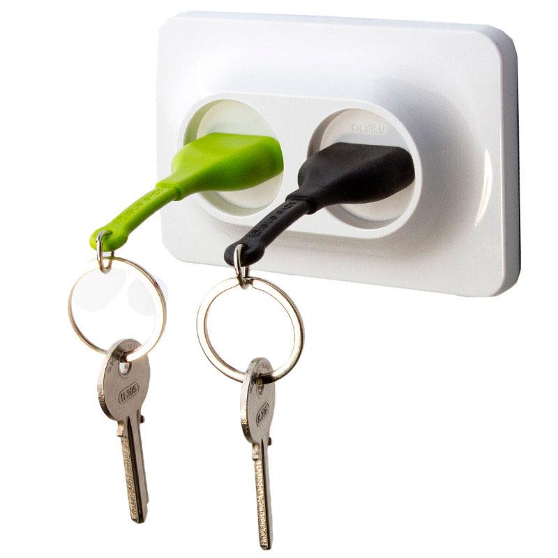 Настенная ключница с двумя брелоками Qualy Розетки
