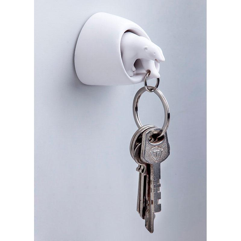 Настенная ключница с брелоком для ключей Qualy Polar Bear белого цвета