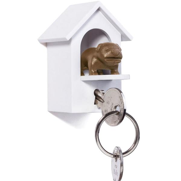 Белая ключница с брелком для ключей Qualy Watch Dog