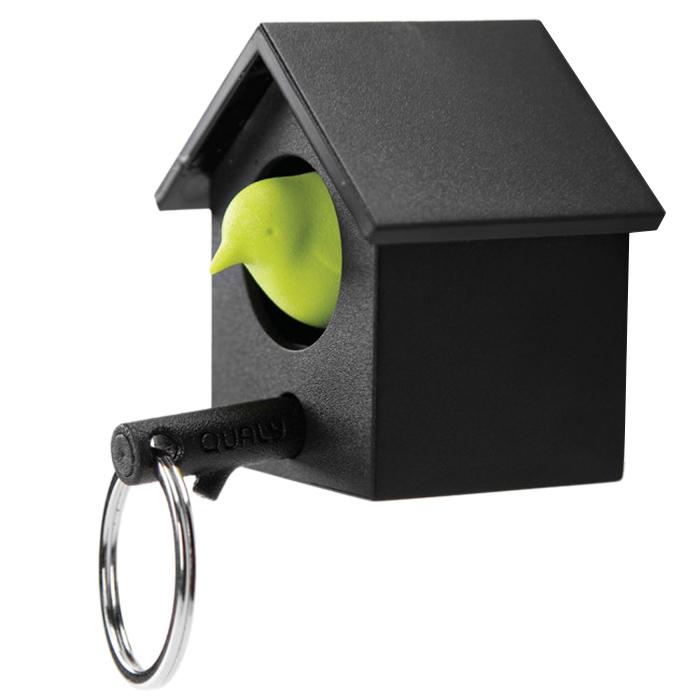 Ключница настенная и брелок для ключей Qualy Cuckoo черная с зеленым