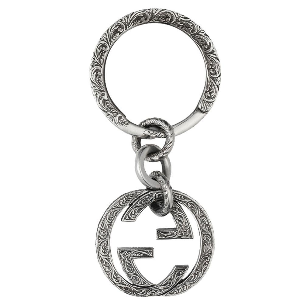 Серебряный брелок GucciInterlocking G с подвеской-логотипом и рисунком