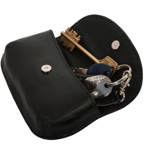 Футляр Unique U Кайенский перец кожаный черный для ключей, фото