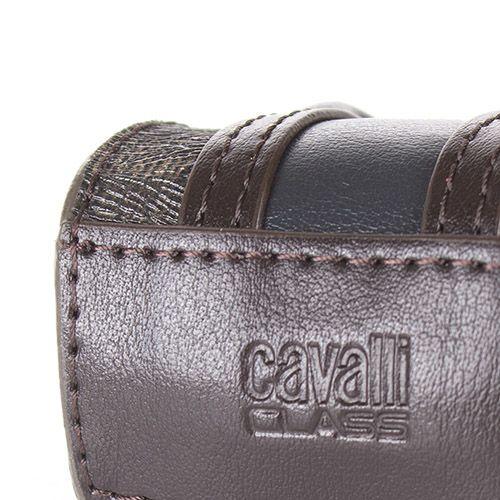 Брелок Cavalli Class в виде сумочки коричневого цвета с леопардовыми вставками, фото