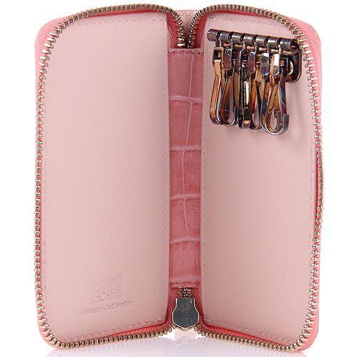 Ключница Cavalli Class Keira кожаная розовая на молнии, фото