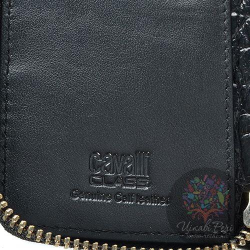 Ключница Cavalli Class Keira кожаная черная на молнии, фото