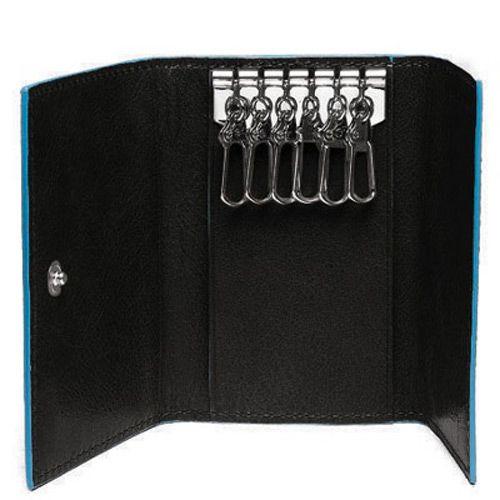 Ключница Piquadro на 6 ключей Blue Square черная, фото