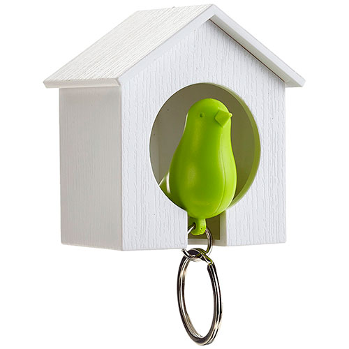 Настенная ключница с брелоком-свистком Qualy Sparrow белая с зеленым, фото