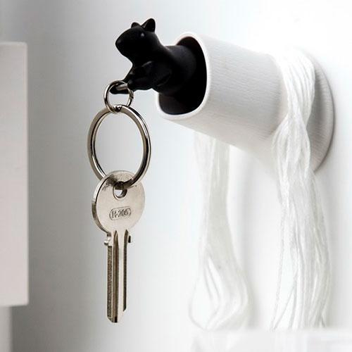 Ключница настенная с брелоком Qualy Squirrel белая с черным, фото