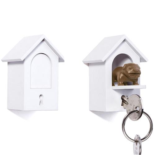 Белая ключница с брелком для ключей Qualy Watch Dog, фото