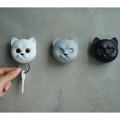Ключница настенная Qualy Neko Cat черный кот, фото