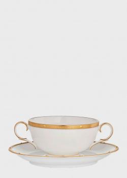 Суповая чаша с блюдцем Noritake Rochelle Gold 0,275л, фото