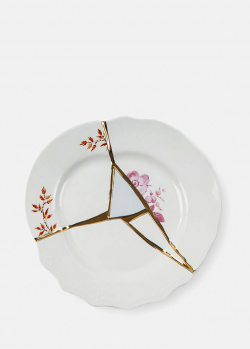 Десертная тарелка Seletti Kintsugi 21см с золотистыми фрагментами , фото