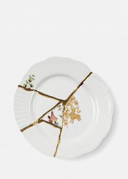 Десертная фарфоровая тарелка Seletti Kintsugi 21см, фото