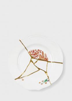 Тарелка Seletti Kintsugi из фарфора белого цвета, фото