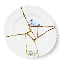 Белая тарелка Seletti Kintsugi с узором из фарфора, фото