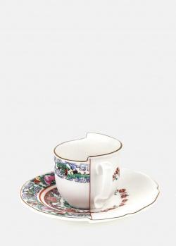 Кофейная чашка Seletti Hybrid Tamara с блюдцем из фарфора, фото