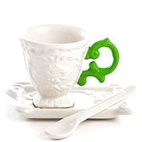 Кофейная чашка Seletti I-Wares с ложкой и блюдцем, фото