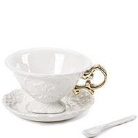 Фарфоровая чашка с блюдцем Seletti I-Wares Gold 13см, фото
