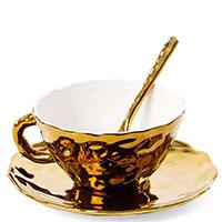 Чашка Seletti Fingers с блюдцем золотистого цвета, фото