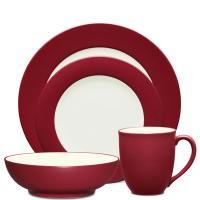 Набор посуды Noritake Colorwave из керамики бордового цвета на 1 персону, фото