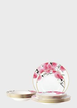 Столовый набор на 6 персон Noritake Yae 23пр с рисунком цветов, фото