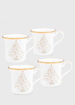 Набор чашек с позолотой Noritake Palace Christmas Gold 4шт 440мл, фото