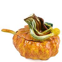 Соусник Ceramiche Bravo Тыква 500мл с крышкой и ложкой, фото
