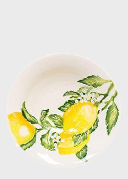 Салатница Villa Grazia Солнечный лимон 30см с рисунком лимона, фото