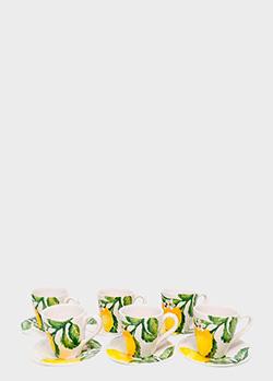 Набор из 6-ти чайных чашек с блюдцами Villa Grazia Солнечный лимон , фото