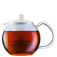 Заварочный чайник Bodum Assam с крышкой белого цвета 0,5 л, фото