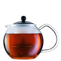 Заварочный чайник Bodum Assam с крышкой черного цвета 1 л, фото
