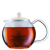 Заварочный чайник Bodum Assam с крышкой белого цвета 1,5 л, фото