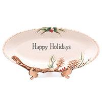 Блюдо Fitz and Floyd Forest Frost новогоднее с надписью, фото