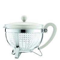 Заварочный чайник Bodum Chambord с сито-фильтром белого цвета 1 л, фото
