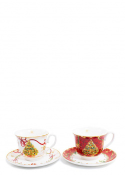 Набор из чайных чашек с блюдцами Palais Royal Яркие завитки на 2 персоны, фото