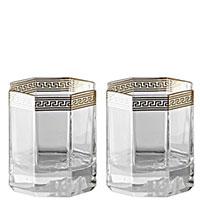 Набор из двух стаканов Rosenthal Versace Medusa Lumiere d'Or для виски, фото