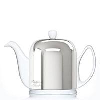 Чайник заварочный Degrenne Paris Salam 1000 мл белый с колпаком из нержавеющей стали, фото