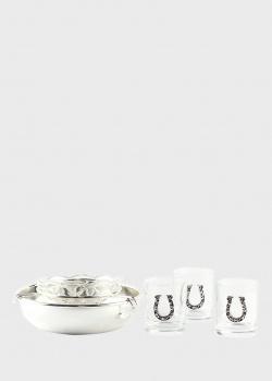 Икорница Chinelli Tocai Horseshoe c 3 стопками для водки, фото