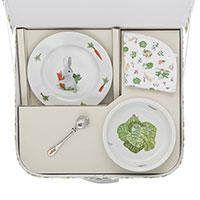 Детский набор из тарелок, ложки и нагрудника Degrenne Paris Les Amis du Potager 5 предметов, фото