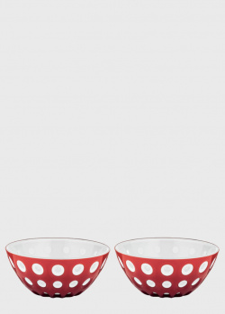 Набор салатников Guzzini Le Murrine красного цвета 12см из 2 штук, фото