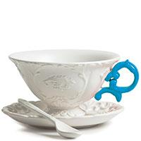 Чашка Seletti I-Tea с блюдцем и ложкой синяя, фото