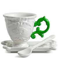 Кофейная чашка Seletti Coffee с блюдцем и ложкой зеленая, фото
