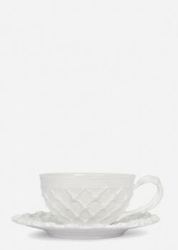Чашка с блюдцем Palais Royal Trame in bianco 9х9см, фото