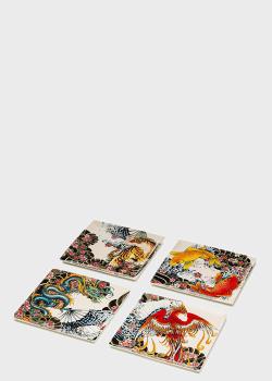 Набор из 4-х квадратных тарелок Palais Royal Tatoo Age 22х22см, фото