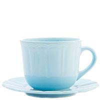 Чашка для чая с блюдцем Comtesse Milano Ritmo из голубой керамики, фото
