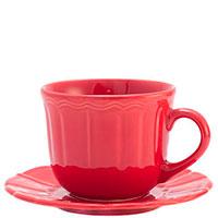 Большая чашка с блюдцем Comtesse Milano Ritmo красного цвета, фото