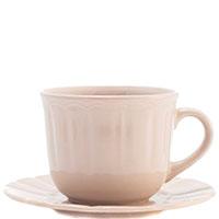 Чашка для чая с блюдцем Comtesse Milano Ritmo бежевого цвета, фото