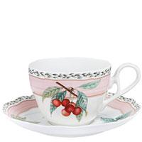 Чашка Noritake Orchard Garden для чая с блюдцем из фарфора, фото